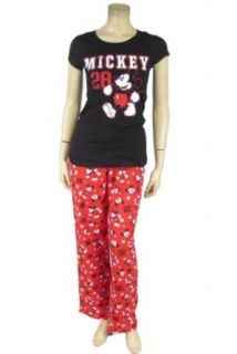 Mickey Mouse 28 Pajama Set Red Pants & Black T Shirt