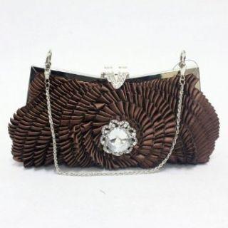 0926 2 brown Satin Handmade Evening Prom Handbag Purse