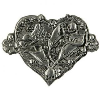 Flower & Skulls Heart Tattoo Belt Buckle Clothing