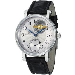 Martin Braun Mens La Belle Silver Dial Black Leather Strap Watch