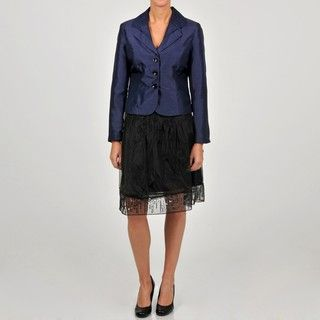 Sharagano Womens Purple/ Black Shantung Jacket Embellished Skirt Suit