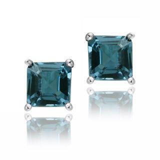 Glitzy Rocks Sterling Silver 1 1/2ct TGW London Blue Topaz Princess