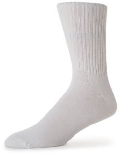 IZOD Mens 3 Pack Cotton Rib Crew Sock, White, One size