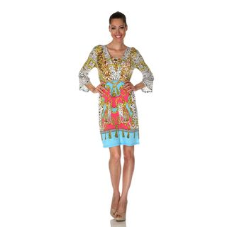 White Mark Womens Venezia Yellow/ Turquoise Mix Print Dress