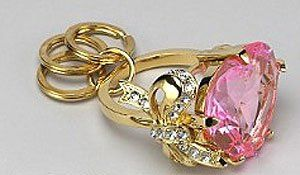 Juicy Couture Heart Bow Engagement Ring Key Chain Pink