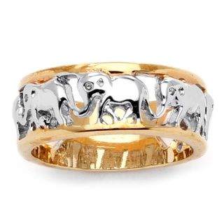 Toscana 14k Two tone Goldplated Elephant Caravan Ring