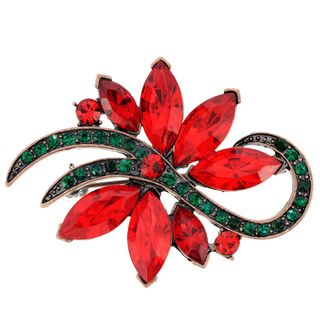 Goldtone Red and Green Crystal Christmas Star Cactus Brooch