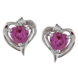 Sterling Silver Created Pink Sapphire Heart Earrings