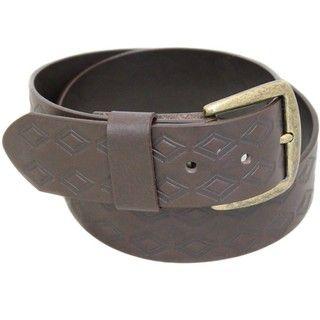 Entourage Mens Embossed Diamond Brown Leather Belt