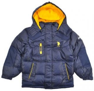 US Polo Assn Big Boys Navy Blue W/Yellow Outerwear Coat