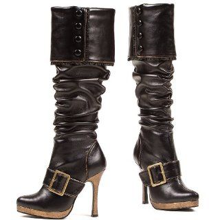 Ellie Shoes Knee High Heel Cuff Black Buckle Strap Pirate Boots Shoes