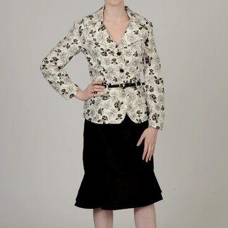 Allyson Cara Womens Plus Size Floral Trumpet Hem Skirt Suit