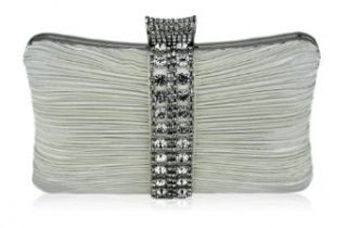 Womens Ivory Crystal Strip Clutch Evening Bag Purse KCMODE