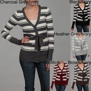Jessi Womens Striped Soft Belt Cardigan