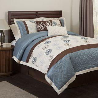 Lush Decor Covina Blue/Brown 6 piece Comforter Set
