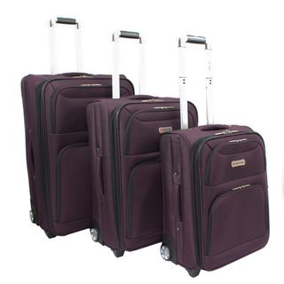 Dejuno Purple Luxury 3 piece Expandable Upright Luggage Set