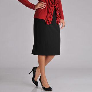 Grace Elements Womens Black Pleated Pencil Skirt