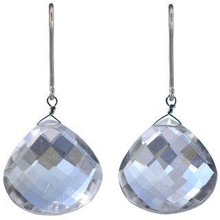 Ashanti Sterling Silver Natural Rock Crystal Earrings (Sri Lanka