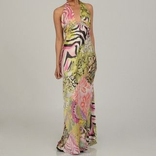 Issue New York Womens Animal/ Floral Print Silk Halter Maxi Dress