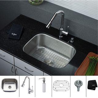 Kraus 23 inch Undermount Single Bowl Stainless Steel Kitchen Sink with
