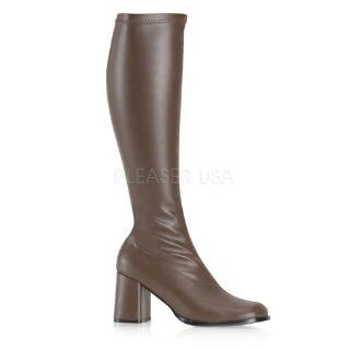 inch Block Heel GOGO Boots, Side Zip Brown Str Faux Leather: Shoes
