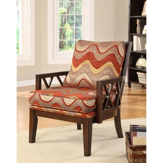Pasadena Dark Walnut Upholstered Accent Chair