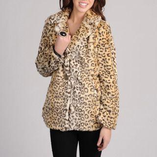 Mo Ka Womens Leopard Print Faux Fur Jacket
