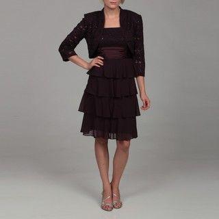 Richards Womens Eggplant Sequin Lace Bolero Jacket and Dress Set