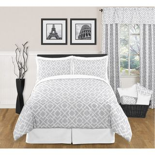Sweet JoJo Designs Grey and White Diamond 3 piece King size Bedding