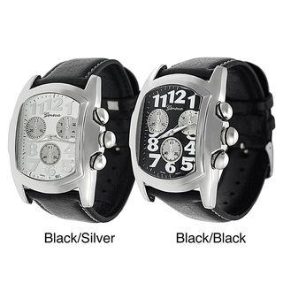 Geneva Platinum Mens Black Leather Strap Watch