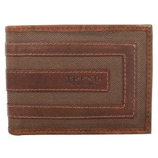 Trend Fashion Mens Brown Leather Bi fold Wallet