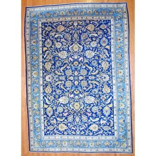 Persian Hand knotted Isfahan Navy/ Light Blue Wool Rug (101 x 148