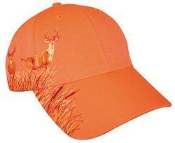 Blaze Orange Deer Hunting Hat With Buck Design Sports