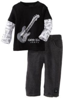 Calvin Klein Baby boys Infant Twofer Top With Jean, Black