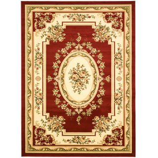 Lyndhurst Collection Red/Ivory Rug (8 x 11)