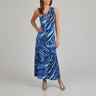Lennie for Nina Leonard Womens Animal Print One Shoulder Maxi Dress