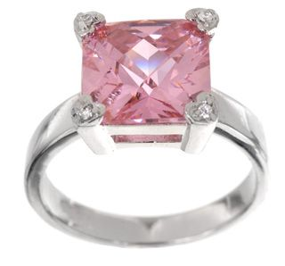 Icz Stonez Sterling Silver Princess cut Pink Cubic Zirconia Square
