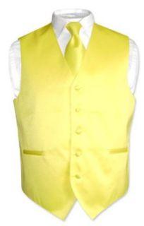 Mens Dress Vest NeckTie GOLDEN YELLOW Neck Tie Set for