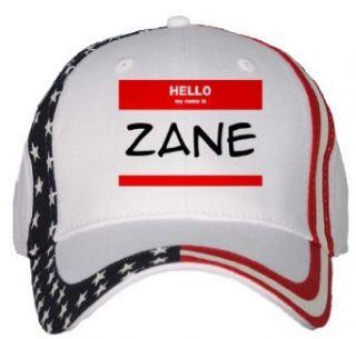 HELLO my name is ZANE USA Flag Hat / Baseball Cap