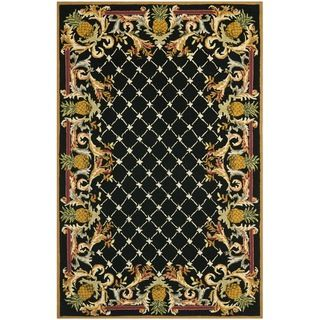 Hand hooked Chelsea Pineapples Black/ Multi Wool Rug