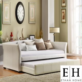 ETHAN HOME Deco White Faux Leather Modern Daybed with Trundle Today $