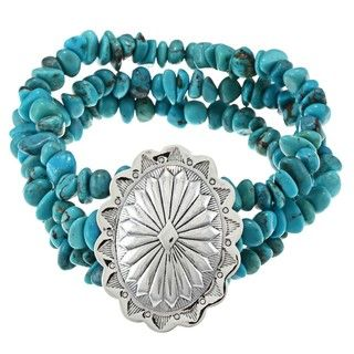 Southwest Moon Sterling Silver Concho Turquoise Chip Stretch Bracelet