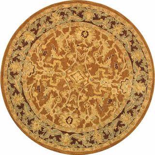Old World Hand spun Brown Gold/ Plum Wool Rug (4 Round)