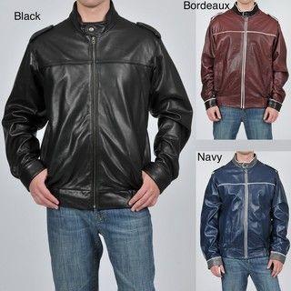 Knoles & Carter Mens Contrast Stitched Leather Bomber Jacket