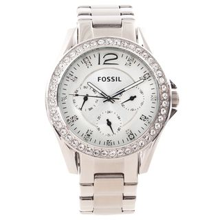 Fossil Womens Riley Stainless Steel Crystal Accented Watch