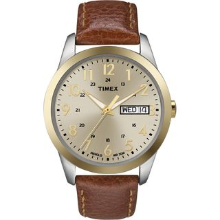 Timex Mens Elevated Classics Dress Brown Leather Strap Watch