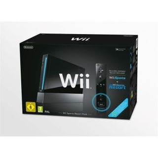BON ETAT   Ce pack comprend la console Wii Noire+Jeux Wii Sports+Wii