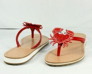 Coach Marina Red Soft Patent Leather Sandals Size 8.5 Shoes