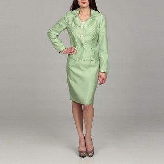 Rose Womens Kiwi Green 3 button Peplum Jacket and Skirt Suit