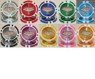 Las Vegas Casino Laser 14gm Poker Chip Sample Set   10 New